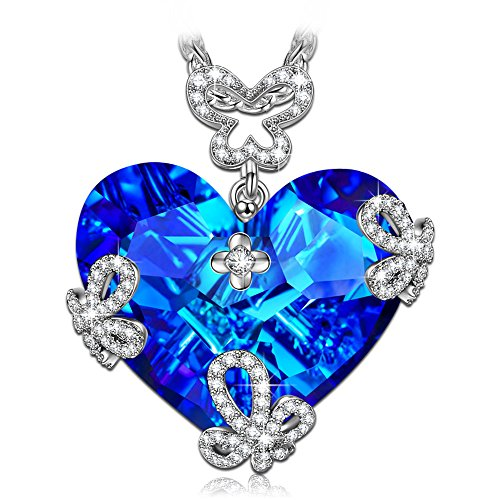 Susan Y Women Butterfly Necklace, Marry in Blue Women Jewellery, Crystals Necklaces, Elegant Jewellery Box, Best Gifts for Women Girls Lover Birthday