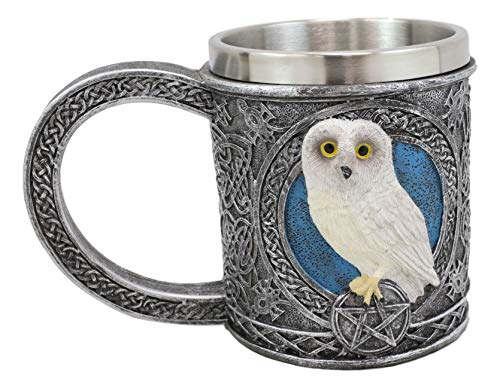 Ebros Dazed Snow White Owl Beverage Drinkware Serveware Adorable Arctic Tundra Owls With Celtic Tribal Tattoo Knotwork And Red Gemstones (Drinking Mug Cup)