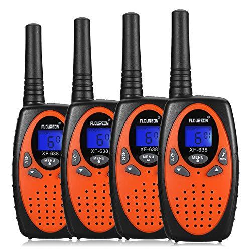 floureon Walkie Talkies para Niños 2 Piezas con Larga Distancia Range 8 Canales de Radio bidireccional con Fast Auto Channel Scan para Comunicación de Actividad Interior/Exterior (2 Pares-Naranja)