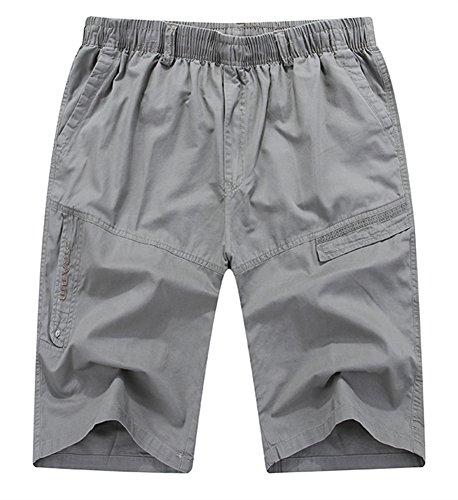 SK Studio Herren Kurze Hose Elastischem Bund Bermuda Shorts Große Größen Baumwolle Cargo Shorts Sommer Hell Grau M