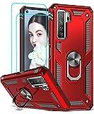 LeYi Coque Huawei P40 Lite 5G avec [2 Verre Trempé] Béquille Métal, Militaire Double Couche Bumper TPU Silicone Antichoc Armure Protection Housse Etui pour Huawei P40 Lite 5G Rouge