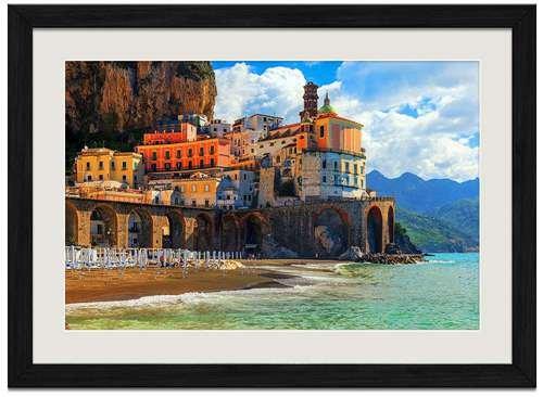 F.Mints Amalfi Coast Positano - Art Print Wall Black Wood Grain Framed Picture(20x14inch)