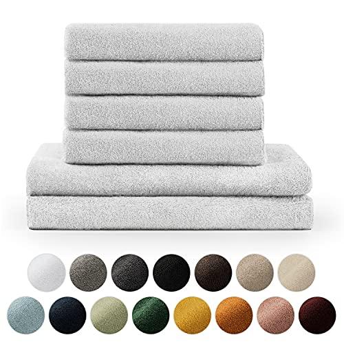 Blumtal Handtücher Set 2 Badetücher 70x140 + 4 Handtücher 50x100 - weich und saugstark, 100% Baumwolle, Oeko-Tex 100 Zertifiziert, Weiß