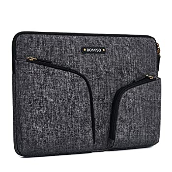DOMISO 11 - 11.6 Inch Waterproof Laptop Sleeve Canvas with Back Handle Tablet Protective Case Bag for 11.6  MacBook Air / Microsoft Surface Pro 5 4 3 / ASUS / Acer / Lenovo / Dell / HP  Dark Grey