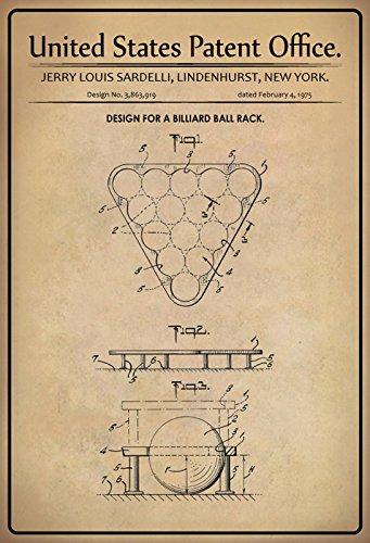 Schatzmix United States Patent Office - Design for a Billiard Ball Rack - Entwurf für EIN Billard Dreieck - Sardelli, New York, 1975 - Design No 3.863.919 - Blechschild
