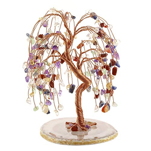 CrystalTears Feng Shui Money Tree Natural Chakra Healing Crystal Money Tree Tumbled Gemstone Tree Of Life Ornament Figurine for Wealth Good Luck 5.5'-6.3'