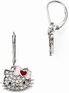 Sterling Silver Jewelry Drop & Dangle Earrings Black Red Pink Hello Kitty SwarovskiPave Gold-tone Leverback Earrings