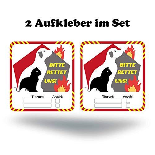 P017 | Notfall Aufkleber | Haustier Rettung 2er Set | Bitte rettet Uns | Brandschutz Leitsystem für Feuerwehr | (9 cm X 10 cm)