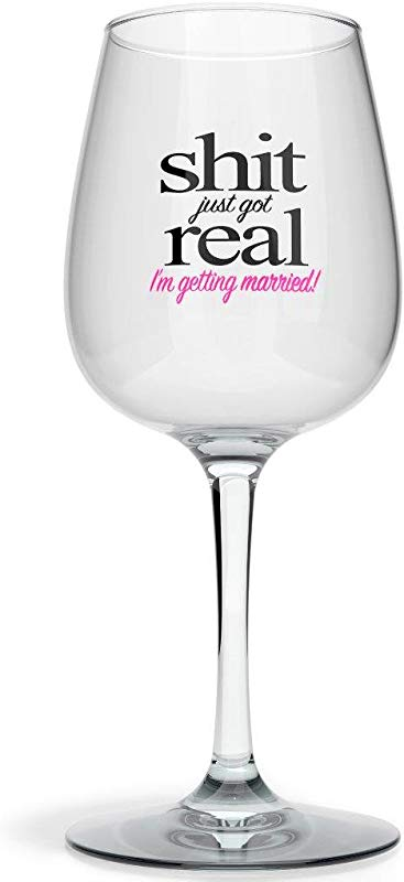 Drinking Divas Sh Just Got Real I M Getting Married Funny Fancy Bridesmaid Wine Glass For Wedding Gifts Fiance Gifts Engagement Gifts Bachelorette And Newlywed Couples