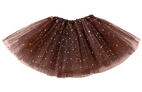 Happy Cherry - Falda Tutú de Ballet con Capas para Niñas Princesa Disfraz Vestido de Tul para Princesa con Estrellas Lentejuelas para Fiesta - Marrón