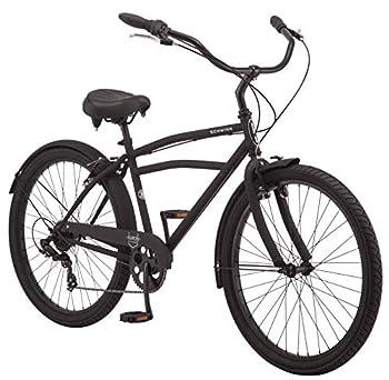 Schwinn Huron Adult Beach Cruiser Bike Featuring 17-Inch/Medium Steel Step-Over Frames 7-Speed Drivetrains Black