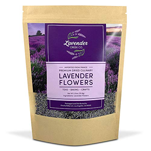 Dried French Lavender Flower Buds - A Culinary Food Grade Herb Perfect for Baking, Loose Leaf Tea, Potpourri Bags, & Bath Bombs (Gluten Free, Vegan, Raw)