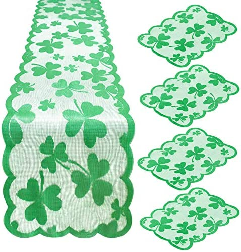 Yoochee St Patrick s Day Table Runner and Placemats 13 72 inch Irish Clover Lace Embroidered product image