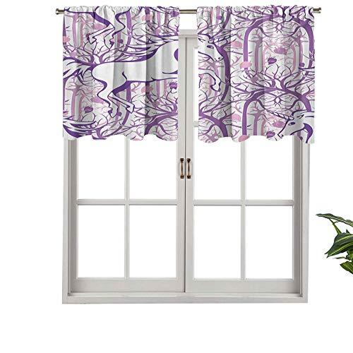 Hiiiman Cenefa de cortina para interiores y hogares, diseño de unicornio en ramas curvadas de árbol en espirales en abstracto, juego de 2, 137 x 60 cm para baño y cafetería.