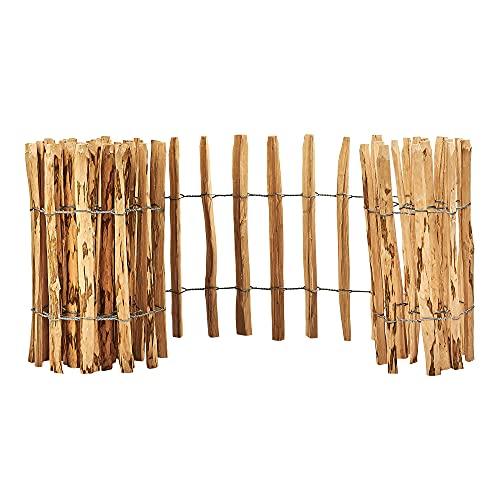 Heracl Staketenzaun aus Haselholz, 80cm hoch, 5m lang, Lattenabstand 4-6cm, verbunden mit verzinktem Draht, direkte Montage in dem Erdboden, zum Einfrieden von Gemüsebeeten oder Garten, 14 Größen
