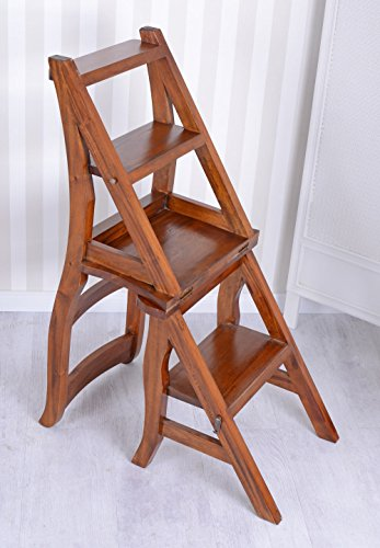 Leiterstuhl Stepchair Treppenstuhl Bücherleiter Büchertreppe Mahagoni Stuhl neu mar057 Palazzo Exklusiv