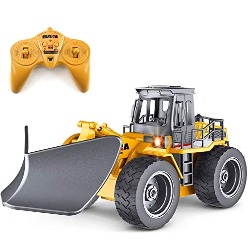 Hging RC LKW Fernbedienung Schneepflug 6 Kanal 2,4G Legierung Schnee Kehrmaschine Fahrzeug 4wd Traktor Spielzeug mit Lichtern für Kinder Fernbedienung Bulldozer Frontlader 4WD für 6-15 Jahre alt Junge
