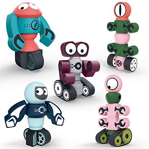 DigHealth 35 Pezzi Blocchi Magnetici, Set di Robot Magnetici con Scatola di Immagazzinaggio, Giocattolo Educativi per Bambini Oltre 3 Anni