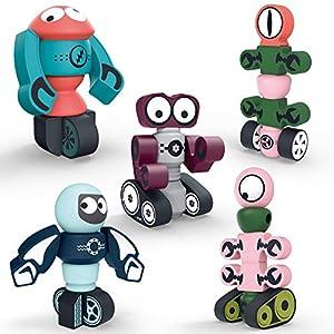 DigHealth 35 Piezas Bloques Magneticos, Juguetes Robot Magnéticos con Caja de Almacenamiento, Juguetes Bloques de Construcción Educativos para Niños Niñas de 2 3 4 5 6 7 8 Años