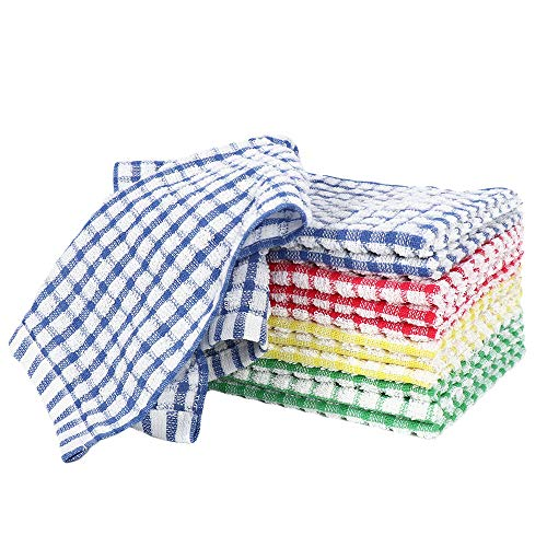 Eathtek 12PCS Kitchen Dishcloths 11x16 Inches, Cotton Scrubbing Wash Cloths Dish Rags Sets for Household and Kitchen (Multi Color)