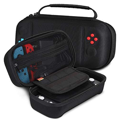 REDTRON Funda de Transporte para Nintendo Switch Lite, Bolsa y Funda Protectora para 24 Cartuchos de Juego y Agarre para la Consola Switch Lite y Accesorios