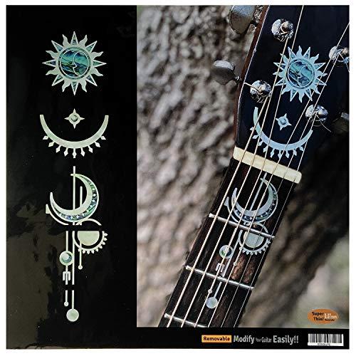 Pegatinas para incrustaciones de guitarras acústicas cabeza y cuello - geométrico sol y luna - perla blanca