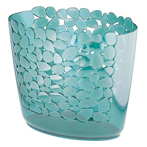 mDesign Decorative Oval Trash Can Wastebasket, Garbage Container Bin for Bathrooms, Powder Rooms, Kitchens, Home Offices - Pebble Design - Blue