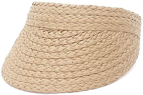 EOZY-Sombreros de Verano para Niñas Bebé Sombrero Paja Gorra de Sol Protector Solar Visera Viajar Vacaciones Playa Plegable,Café