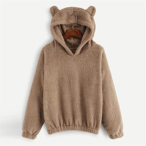 WUCHENG Otoño e invierno peluche color sólido harajuku jersey moda floja señoras sudadera con capucha chaqueta casual Sudadera (Color : Khaki, Size : L)