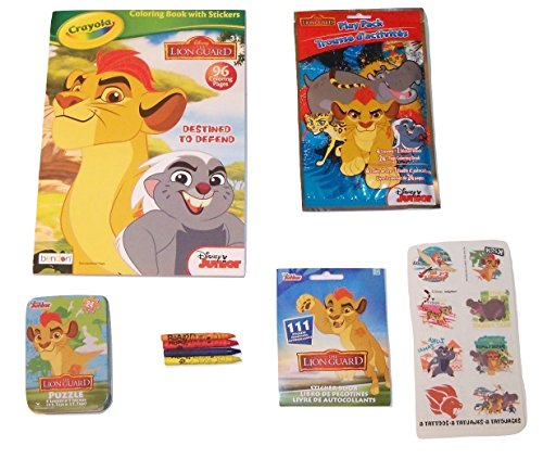 Disney the Lion Guard Activity Gift Set ~ Destined to Defend (Crayola Coloring Book with Stickers, Grab and Go Play Pack, Sticker Pack, Tattoos, Puzzle in a Tin, Crayons; 6 Items, 1 Bundle)