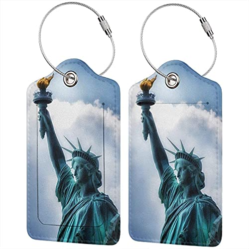 BeachSurfers - Etichetta per bagagli in pelle PU, motivo geometrico colorato, etichette per valigie, porta carte d'identità da visita, set di 2 navate, colore: blu