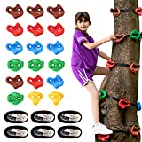 SEKKVY 18 Ninja Tree Climbing Holds and 6 Sturdy Ratchet Straps for Kids Tree Climbing, Large Climbing Rocks for Outdoor Ninja Warrior Obstacle Course Training