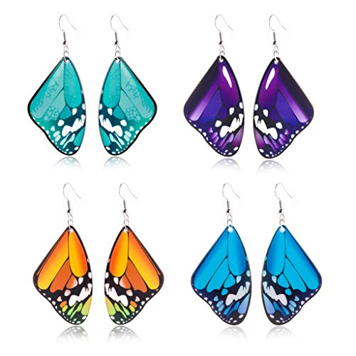 MIORIO Juego de 4 pares de aretes colgantes de mariposa voladora de acrílico
