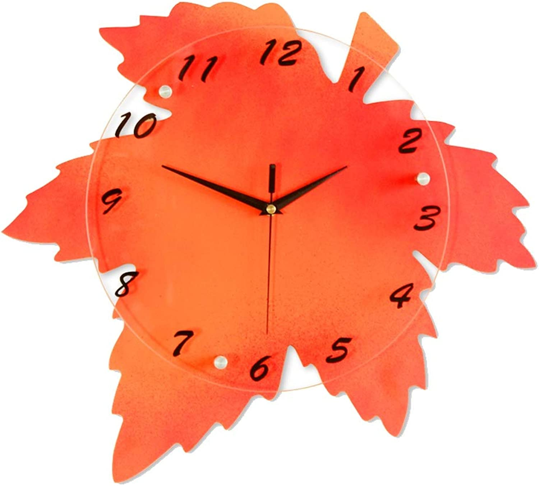 YONGMEI Wall Clock - Creative Minimalist Wall Clock Modern Bedroom Living Room Clock (color   RED, Size   44  41cm)