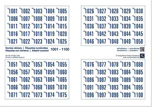 Set van 1000 nummeretiketten (papier), zelfklevend, nummerlagen in stappen van 1000 naar keuze Nr. 1-1000 (of Nr. 1 tot 1000)