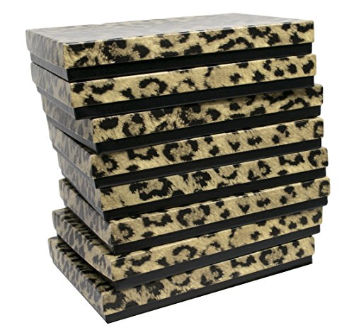 Novel Box Made in USA Jewelry Gift Box in Leopard Print with Removable Cotton Pad 7X5X0.9 (Pack of 8) + Custom NB Pouch