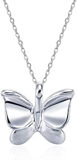 FANCIME White Gold Plated High Polished Sterling Silver Butterfly Necklace Cute Elegant Pendant Dainty Fine Jewelry Gifts for Women GirlsHer, 16+2