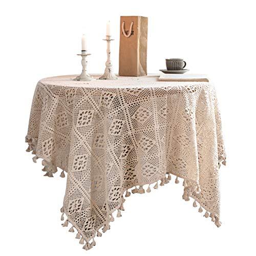 WCPQT Borla Macrame Encaje Costura Mantel,para Cocina Decoración del Hogar,Lavable Vintage Algodón Gancho Mantel Mesa