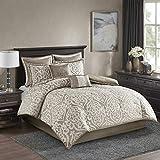 Madison Park Odette Comforter Set Jacquard Damask Medallion Design All Season Down Alternative Bedding, Matching Shams, Bedskirt, Decorative Pillows, King(104'x92'), Tan