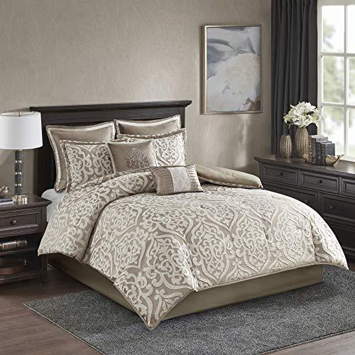 "Madison Park Odette Comforter Set Jacquard Damask Medallion Design All Season Down Alternative Bedding, Matching Shams, Bedskirt, Decorative Pillows, Queen(90""x90""), Tan"