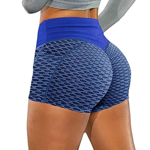 Pantalones Cortos Deportivos para Mujer Leggings Push Up de Cintura Alta Shorts de Deporte Leggins Transpirables Elásticos Pantalón Fitness Mallas de Yoga para Correr Gym Estiramiento