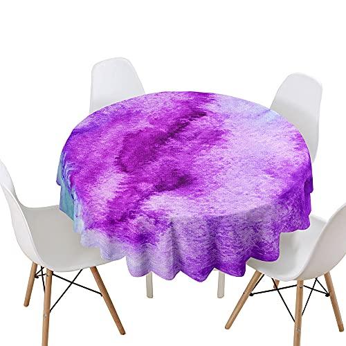 Highdi Impermeable Mantel de Redondo, Antimanchas Lavable Manteles Moderno Decoración para Salón, Cocina, Comedor, Mesa, Interior y Exterior (Tinte púrpura,Diámetro 170cm)