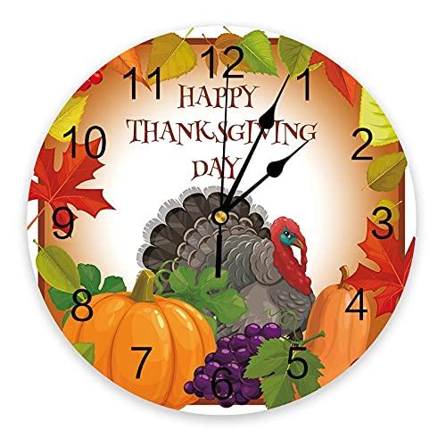 Reloj de Pared Acción de Gracias Calabaza Turquía Reloj de Pared Diseño Moderno Decoración para el hogar Reloj de Pared silencioso Decoración para Sala de Estar Reloj de Pared