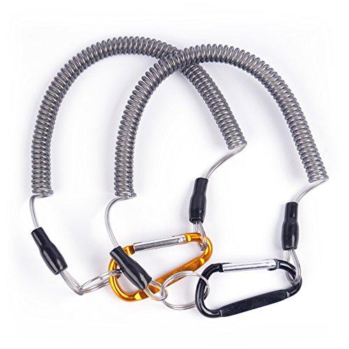 Pesca cordón Cable de cuerda de seguridad interior de acero topind Attached retráctil en espiral Tether en barco pesca Camping y caza (3pcs/pack color al azar)
