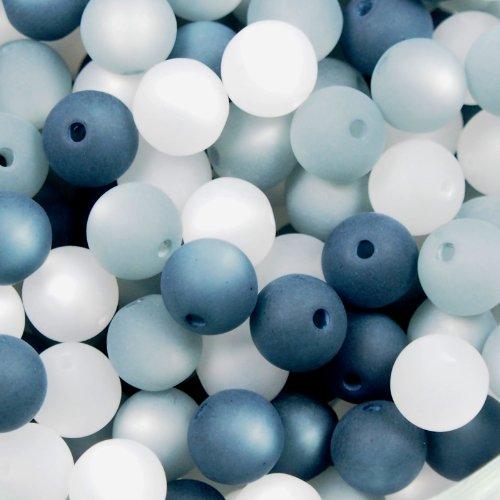 20 Stück echte original Polarisperlen Perlenmix Perlenmischung Perlen Perlenset 8 mm, grau, Perlen aus deutscher Produktion