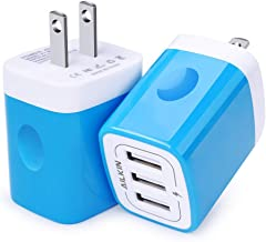 Blue Wall Charger, Ailkin 2Pack 3Port USB Plug Wall, Fast Charging Station Brick Box Replacement for Phone X/8/7/6s/Plus, Pad Pro/Air 2/Mini, LG, Nexus, HTC, Samsung Galaxy S9/S8/S7/S6/Edge, etc.