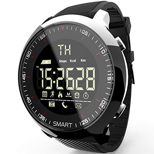 XUEXIU Smart Watch Impermeable Luminoso Pedómetro Mensaje Teléfono Mensaje Al Aire Libre Hombres SmartWatches (Color : White)