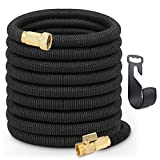 Tminnov 50 FT Lightweight Expandable Garden Hose | Ultimate No-Kink Flexibility - Extra Strength with 3/4 Inch Solid Brass Fittings & Double Latex Core | Rot, Crack, Leak Resistant