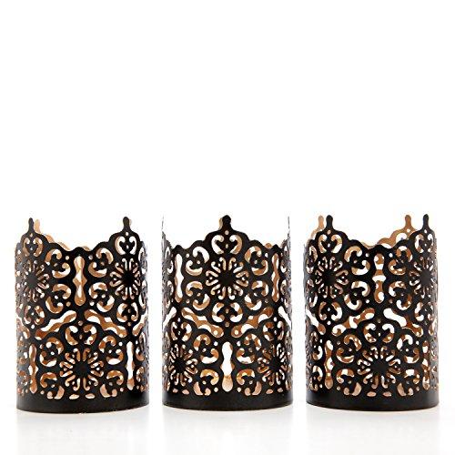 Hosley Set of 3 Black Finish Metal Candle Holder 4 Inch High Lattice Cut Lantern Ideal Gift for Votive Gardens LED Tealights Weddings Spa Reiki O3