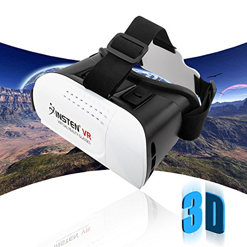 Insten [Adjustable] 3D Glasses Virtual Reality Headset Compatible with LG G6, Samsung Galaxy S9/S8, iPhone 8/8 Plus/X /7/7 Plus Smartphones Within 4.7-6 inch Perfect for 3D Movie/Game, White/Black